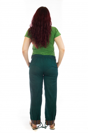 Pantaloni lejeri cu motive Etno - Verde3