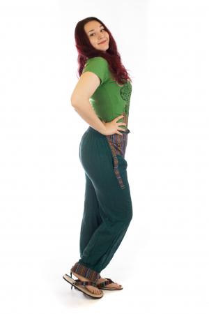 Pantaloni lejeri cu motive Etno - Verde2
