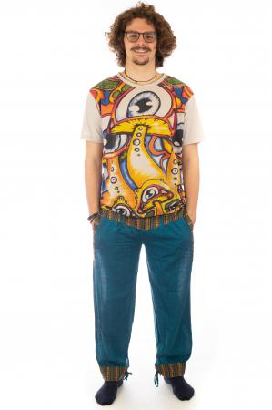 Pantaloni lejeri cu motive Etno - Turcoaz1
