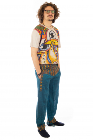 Pantaloni lejeri cu motive Etno - Turcoaz5