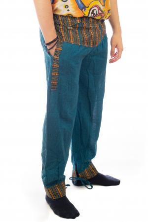 Pantaloni lejeri cu motive Etno - Turcoaz6