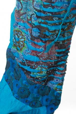 Pantaloni lejeri cu print si accente razor-cut - Albastru 31