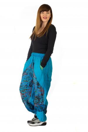 Pantaloni lejeri cu print si accente razor-cut - Albastru 33