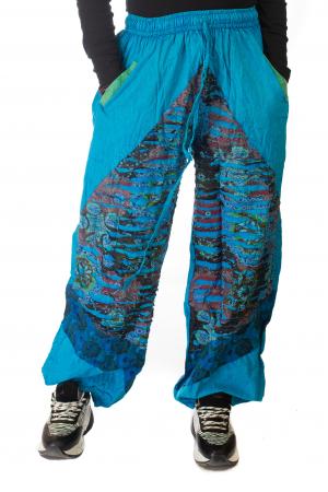 Pantaloni lejeri cu print si accente razor-cut - Albastru 30