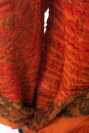 Pantaloni lejeri cu print si accente razor-cut - Portocaliu model 12