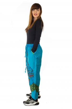 Pantaloni lejeri cu print si accente razor-cut - Albastru 23