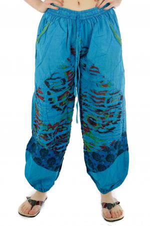 Pantaloni lejeri cu print si accente razor-cut - Albastru - Model 20