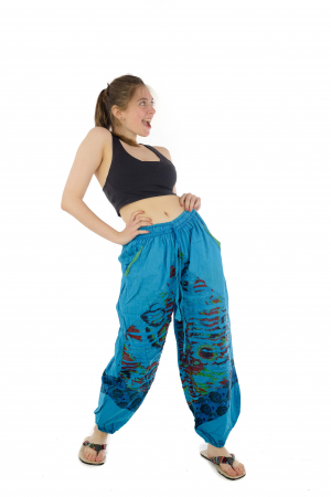 Pantaloni lejeri cu print si accente razor-cut - Albastru - Model 23