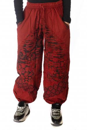 Pantaloni lejeri cu print si accente razor-cut - Rosu1