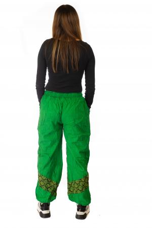 Pantaloni lejeri cu print si accente razor-cut - Verde5