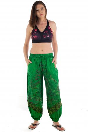 Pantaloni lejeri cu print si accente razor-cut - Verde - Model 21