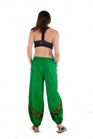 Pantaloni lejeri cu print si accente razor-cut - Verde - Model 25