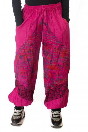 Pantaloni lejeri cu print si accente razor-cut - Roz0