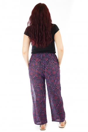 Pantaloni lejeri din bumbac colorati - Spiral - Mov Inchis2