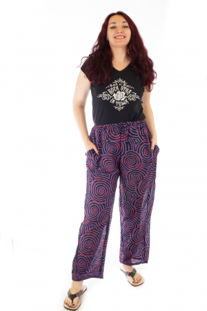 Pantaloni lejeri din bumbac colorati - Spiral - Mov Inchis0