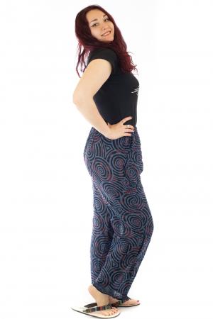 Pantaloni lejeri din bumbac colorati - Spiral - Albastri1