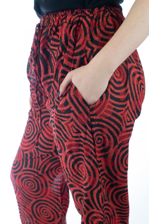 Pantaloni lejeri din bumbac colorati - Spiral - Rosu3
