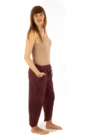 Pantaloni lejeri din bumbac - Visiniu2