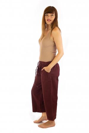 Pantaloni lejeri din bumbac - Visiniu1