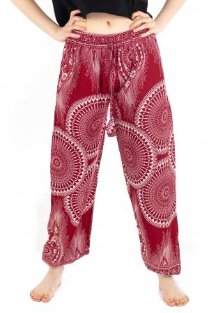 Pantaloni lejeri din rayon - Red Mandala [0]