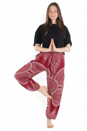 Pantaloni lejeri din rayon - Red Mandala [1]