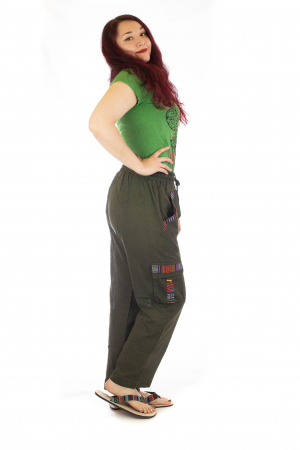 Pantaloni lejeri - Etno Verde1