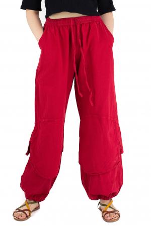 Pantaloni lejeri intr-o culoare - Rosu [0]