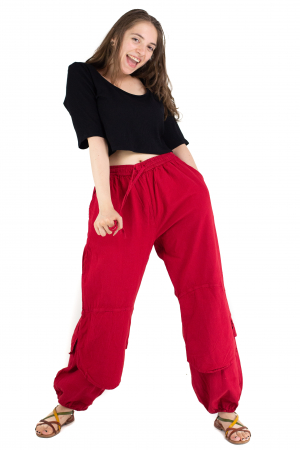 Pantaloni lejeri intr-o culoare - Rosu [3]