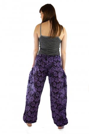 Pantaloni Lejeri - Mov cu Flori4
