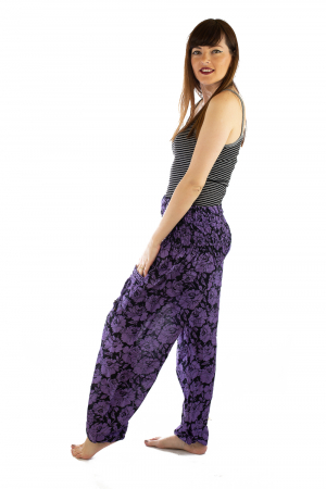 Pantaloni Lejeri - Mov cu Flori2