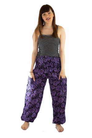 Pantaloni Lejeri - Mov cu Flori0