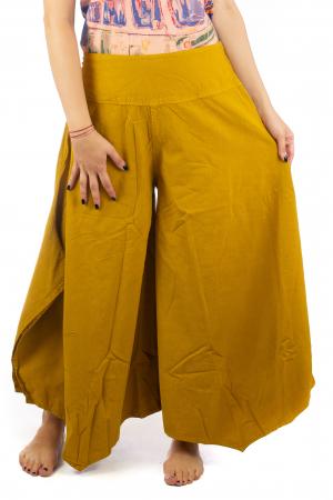 Pantaloni lejeri - Petal Tips Evazat - Galben1