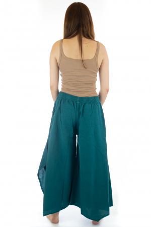 Pantaloni lejeri - Petal Tips Evazat - Turqoaz Inchis [4]