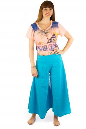 Pantaloni lejeri - Petal Tips Evazat - Albastru Deschis [1]