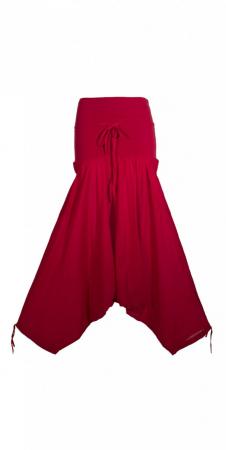 Pantaloni lejeri si vaporosi din bumbac - ROSU - PA135760