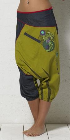 Salvari denim cu verde si print oriental - PA136121
