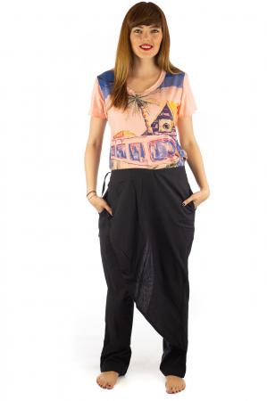 Pantaloni tip fusta din bumbac - Negru SH-92 [0]