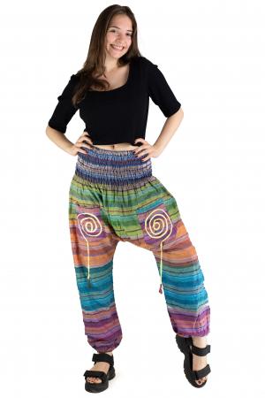 Pantaloni multicolori cu talie inalta din bumbac - Unicat - Model 10 [1]