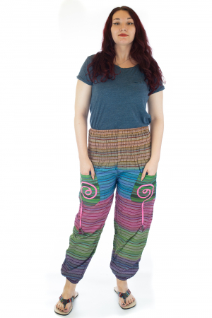 Pantaloni multicolori cu talie inalta din bumbac unicati - M100