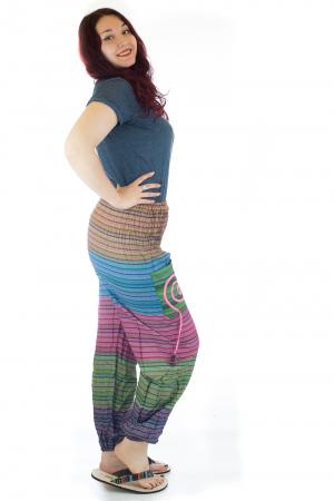 Pantaloni multicolori cu talie inalta din bumbac unicati - M101