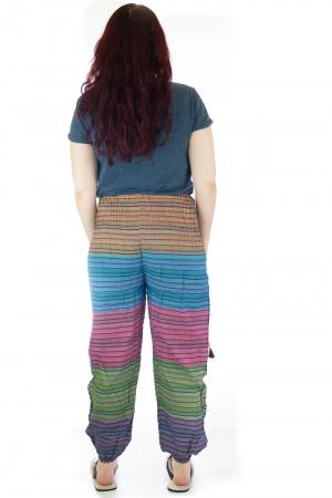 Pantaloni multicolori cu talie inalta din bumbac unicati - M102