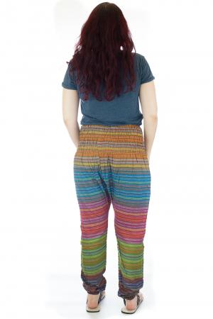 Pantaloni multicolori cu talie inalta din bumbac unicati - M122