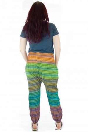 Pantaloni multicolori cu talie inalta din bumbac unicati - M132