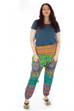 Pantaloni multicolori cu talie inalta din bumbac unicati - M130