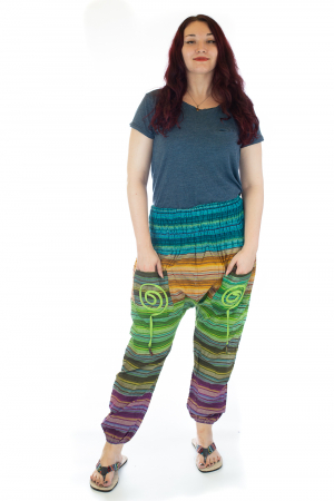 Pantaloni multicolori cu talie inalta din bumbac unicati - M160