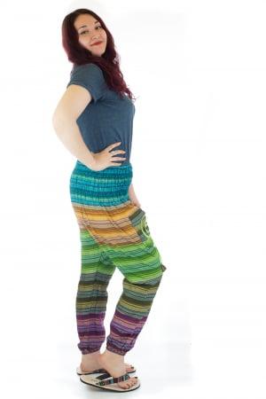 Pantaloni multicolori cu talie inalta din bumbac unicati - M161