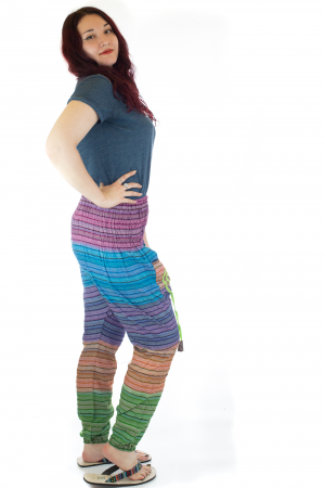 Pantaloni multicolori cu talie inalta din bumbac unicati - M171
