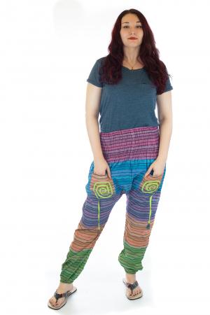 Pantaloni multicolori cu talie inalta din bumbac unicati - M170