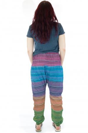 Pantaloni multicolori cu talie inalta din bumbac unicati - M172