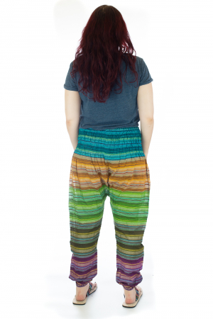 Pantaloni multicolori cu talie inalta din bumbac unicati - M182
